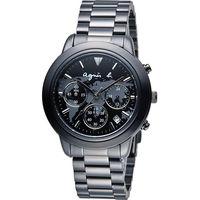 agnes b. 世界地圖 腕錶 BT3023X1 VD53 ^#45 KQ00N 黑