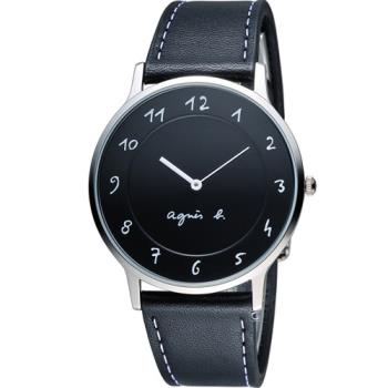 agnes b.法式優雅手寫體時標時尚腕錶 BJ5005X1  VJ20K240Z