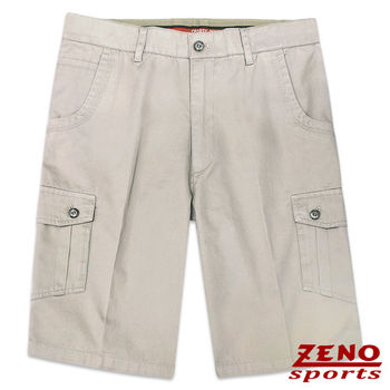 ZENO傑諾 水洗彎月弧形口袋休閒短褲‧淺灰31~38