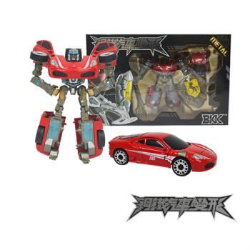 合金鋼鐵汽車變形機器人(大)-25紅跑車