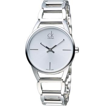 CK Calvin Klein 時尚鏤空手環錶 K3G23126 銀白