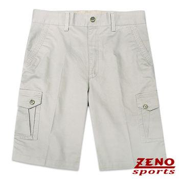 ZENO傑諾 水洗立體層次多口袋休閒短褲‧淺卡其31~42