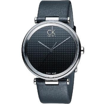 CK Calvin Klein Gents視覺系立體格文時尚腕錶 K1S21102 黑