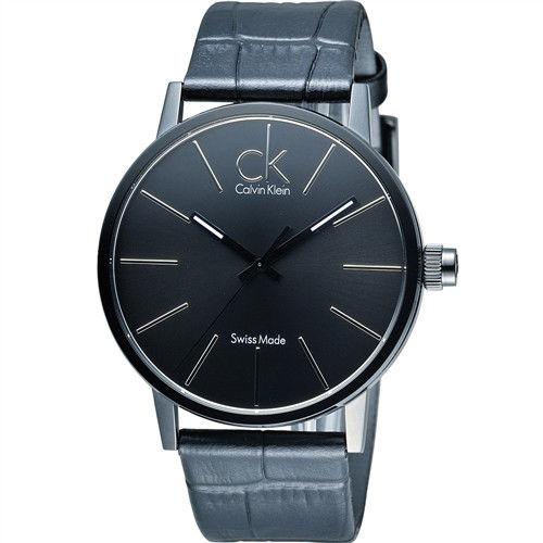 Calvin Klein CK 立體感玻璃層時尚腕錶 K7621401 黑