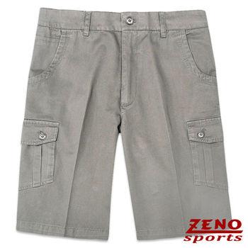 ZENO傑諾 水洗彎月弧形口袋休閒短褲‧卡其灰32~38
