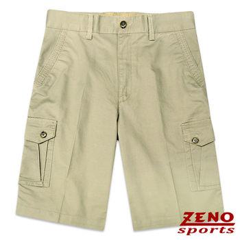 ZENO傑諾 水洗立體層次多口袋休閒短褲‧卡其綠30~42