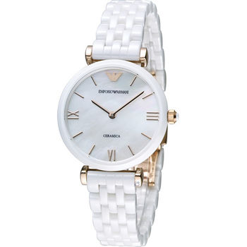 EMPORIO ARMANI Ceramica 簡單優雅陶瓷腕錶 AR1486 白