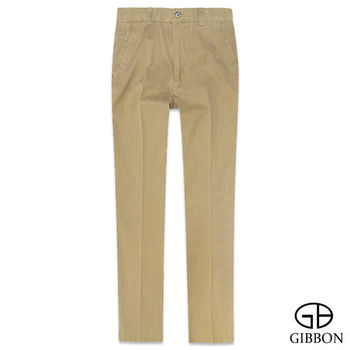 GIBBON 經典條紋平口休閒長褲‧黃褐色32~42