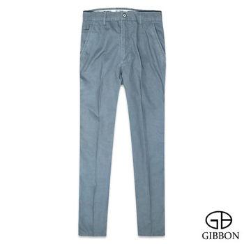 GIBBON 質感橫紋純棉平口休閒褲‧灰藍30~42