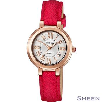 卡西歐 CASIO SHEEN 優柔線條女士腕錶 SHE-4029PGL-7A 紅