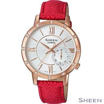 卡西歐 CASIO SHEEN 獨立式小秒針時尚腕錶 SHE-3046GLP-7B 紅