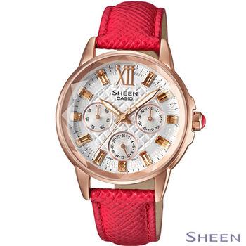卡西歐 CASIO SHEEN 火紅輕熟魅力時尚腕錶 SHE-3029PGL-7A 紅