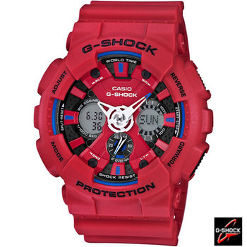 G-SHOCK 重機運動時尚雙顯錶 GA-120TR-4A 紅