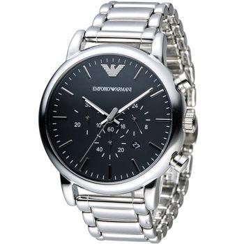 EMPORIO ARMANI Classic 英倫簡約風計時腕錶 AR1894 黑