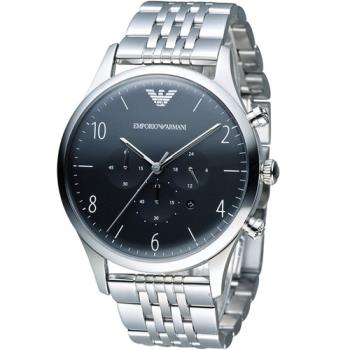 EMPORIO ARMANI Classic 簡約品味計時腕錶 AR1863 黑