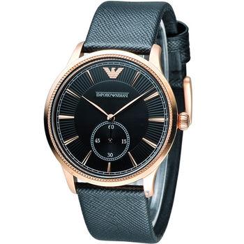 EMPORIO ARMANI 經典時尚男錶 AR1798 黑x玫瑰金色
