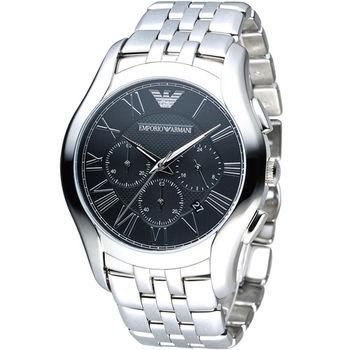 EMPORIO ARMANI Classic 羅馬假期計時腕錶 AR1786 黑