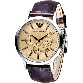 EMPORIO ARMANI Classic 簡約內斂計時腕錶 AR2433咖啡 AR2432銀白x黑