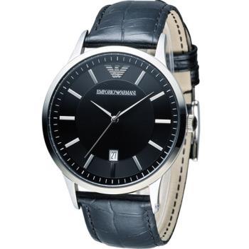 EMPORIO ARMANI Classic 簡約內斂時尚腕錶 AR2411 黑