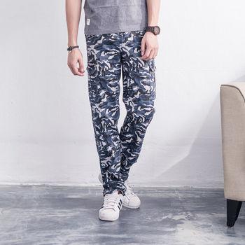 【5buy15】迷彩藍白正統側口袋工作褲