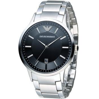 EMPORIO ARMANI Classic 簡約內斂時尚腕錶 AR2457黑  AR2477藍