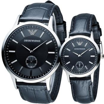 EMPORIO ARMANI 城市戀人簡約對錶 AR9100 黑