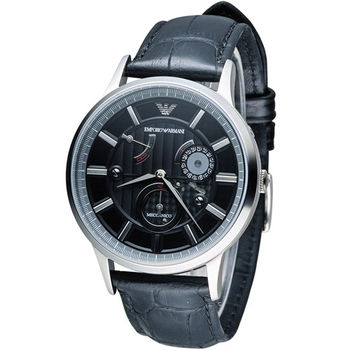 EMPORIO ARMANI Meccanico 時間旅人動力儲存機械腕錶 AR4659 黑