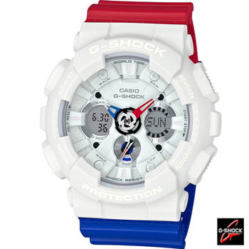 G-SHOCK 重機運動時尚雙顯錶 GA-120TRM-7A 紅x藍x白