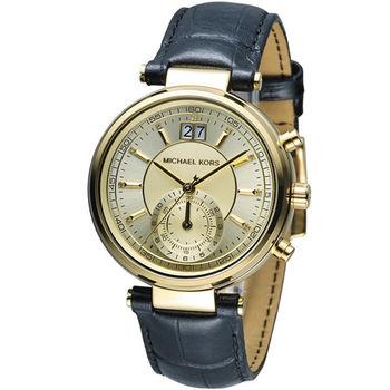 Michael Kors 古典魅力計時腕錶 MK2433 金色x藍色