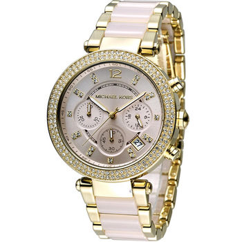 Michael Kors 美式璀璨晶鑽計時腕錶 MK6326 玫瑰金色