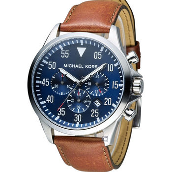 Michael Kors 紳士品味三眼計時腕錶 MK8362 咖啡x藍色