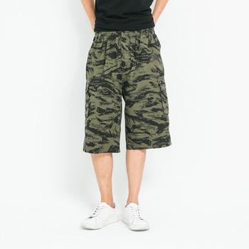 【5buy15】迷彩加大鬆緊短褲-共三色