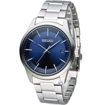 SEIKO Spirit 簡約時尚萬年曆太陽能電波腕錶 7B24-0BJ0B SBTM231J 藍