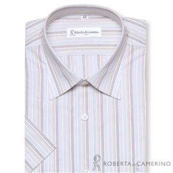 【ROBERTA諾貝達】台灣製 夏日繽紛 吸濕防污 條紋短袖襯衫(卡其)
