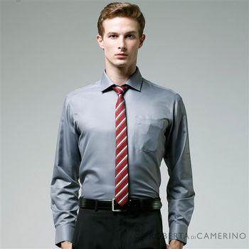 【ROBERTA諾貝達】台灣製 修身版 吸溼排汗 純棉長袖襯衫(灰色 )
