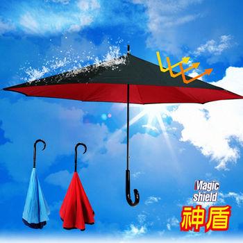 神盾-雙層抗UV反向傘/防曬傘/晴雨傘/反摺傘(藍+黑款)