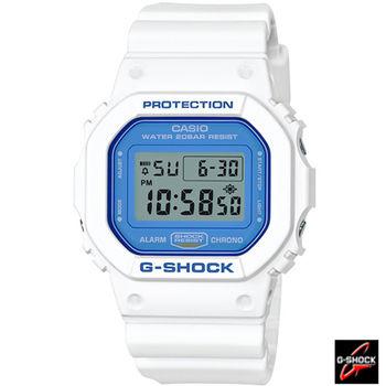G-SHOCK 藍白配色DW-5600復古運動錶 DW-5600WB-7D 白x藍