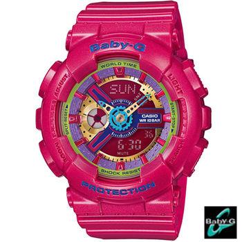 BABY-G 耀眼亮彩運動錶 BA-112-4A 桃紅色
