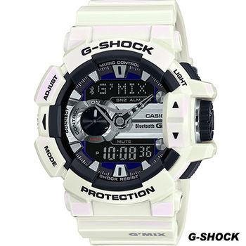 G-SHOCK 藍牙4.0無線運動錶 GBA-400-7C 白