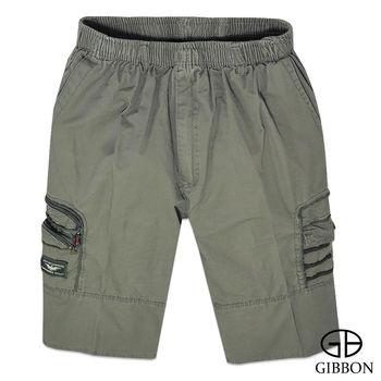 GIBBON 美式率性電繡鬆緊短褲‧灰綠M~3L