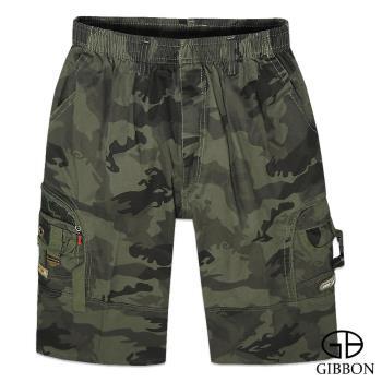 GIBBON 個性軍裝迷彩鬆緊短褲‧軍綠L~3L