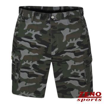 ZENO傑諾 彈力率性迷彩多袋短褲‧灰綠M~3L