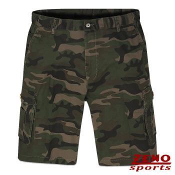 ZENO傑諾 彈力率性迷彩多袋短褲‧褐綠M~3L