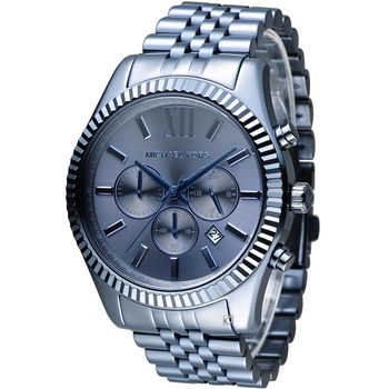 Michael Kors 漫步羅馬三眼計時腕錶 MK8480 藍