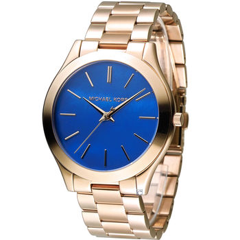Michael Kors 美國經典簡約時尚腕錶 MK3494 玫瑰金色x藍