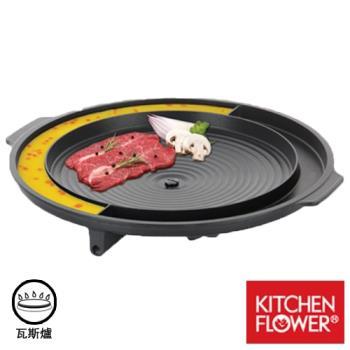 韓國 Kitchen Flower 37cm 烤肉盤 壽喜燒鍋 圓形烘蛋盤