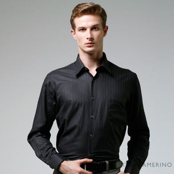 【ROBERTA諾貝達】進口素材 台灣製 純棉條紋優雅長袖襯衫 黑色