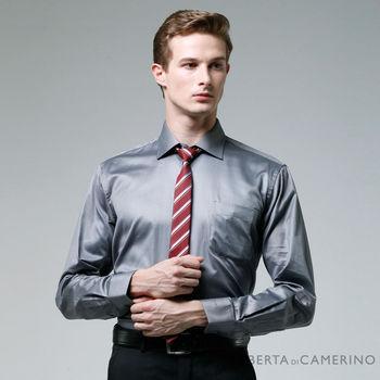 【ROBERTA諾貝達】進口素材 台灣製 純棉獨特魅力長袖襯衫 鐵灰