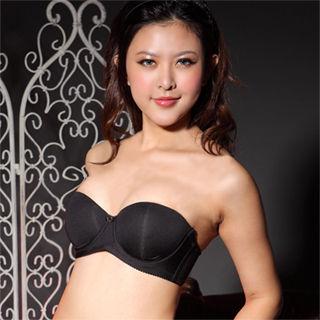 【嫚黎紗】經典無肩帶內衣組*B-F罩杯*(時尚黑)
