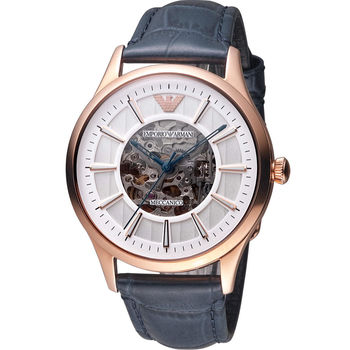 EMPORIO ARMANI Meccanico 雙面鏤空機械腕錶 AR1947 玫瑰金色